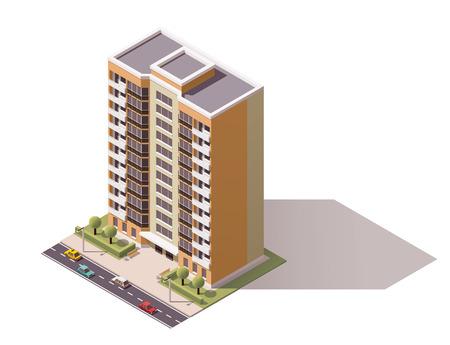 Icône isométrique représentant bâtiment de la ville Vecteurs