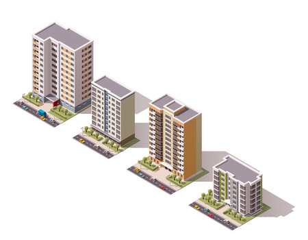 apartment block: Set of the isometric town buildings