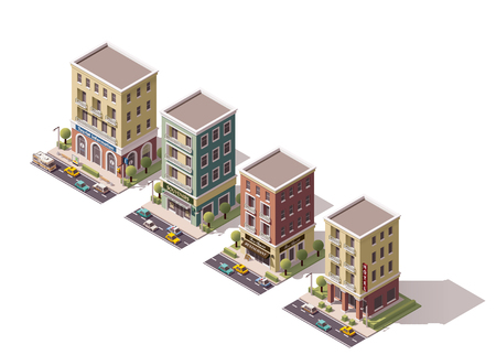 town: Set of the isometric town buildings