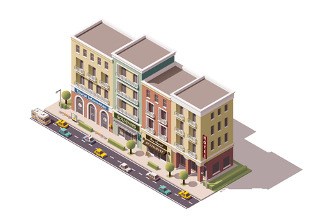 map icon: Isometric town street with tourism related buildings