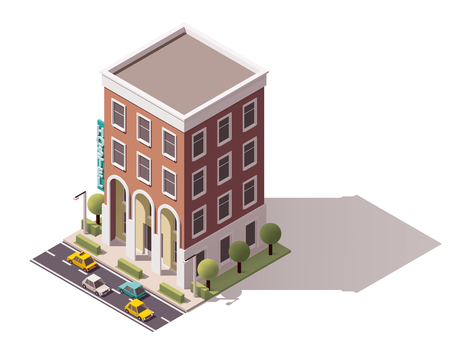 residential building: Isometric icon representing small hostel building
