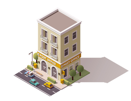 post office building: isometric post office building icon