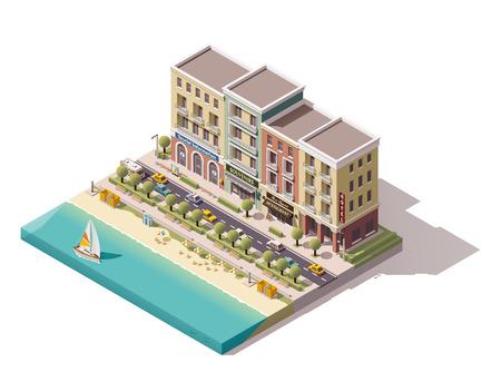Isometrische stadsstraat met toerisme gerelateerde gebouwen Stockfoto - 54942615