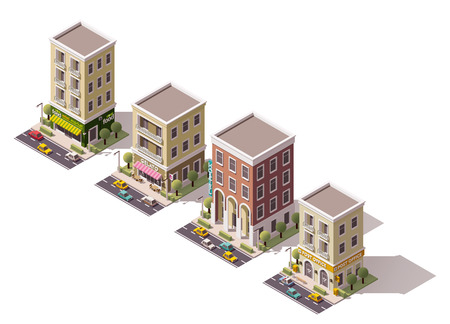 condominium: Set of the isometric town buildings