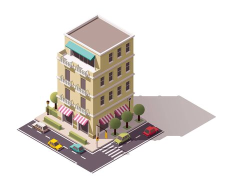 overhang: Isometric icon representing city building