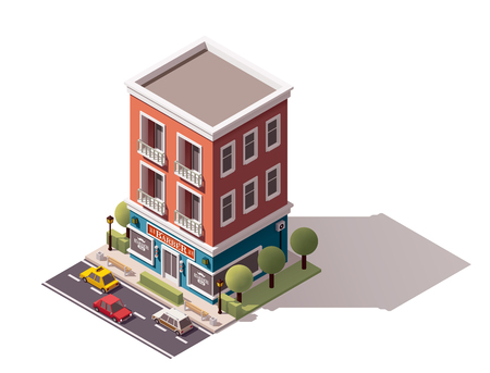 commercials: isometric barbershop building icon