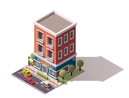 isometrische barbershop gebouw pictogram Vector Illustratie