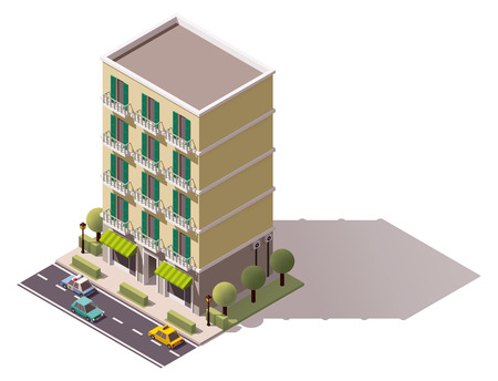 facade: Isometric icon representing city building
