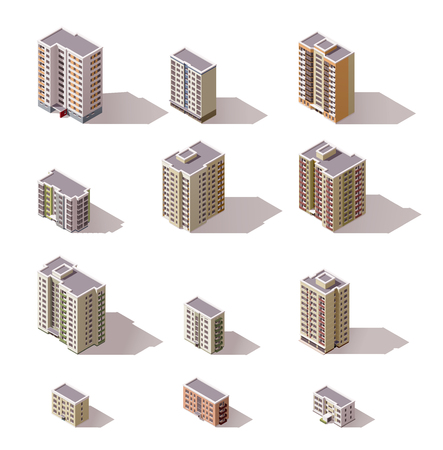 multistory: Set of the isometric town buildings