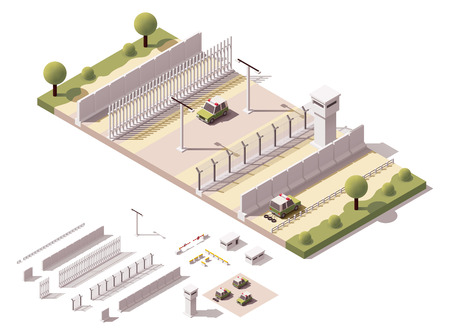 illustrazione isometrica attrezzature di sicurezza di confine che rappresenta