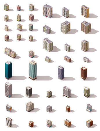 Grote reeks van het isometrische stadsgebouwen