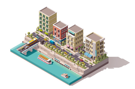 Isometric town street on the river bank
