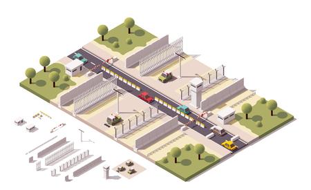 Isometrische illustratie die grensbeveiliging apparatuur