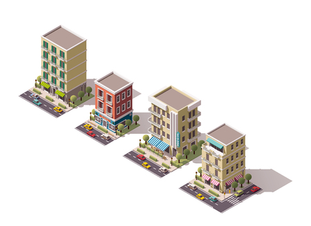 barber pole: Set of the isometric town buildings