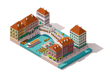 Isometric Venice street with Rialto bridge  イラスト・ベクター素材