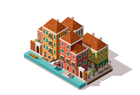 canal: Isometric Venice street with bridge over the canal