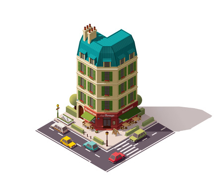 french board: Isometric Paris building with restaurant