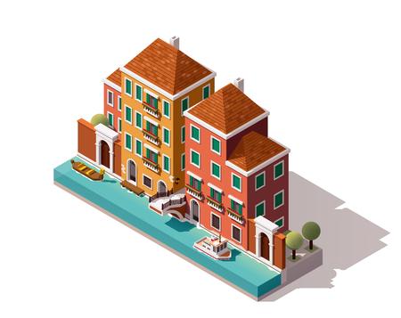 運河に架かる橋で等尺性のヴェネツィア通り  イラスト・ベクター素材