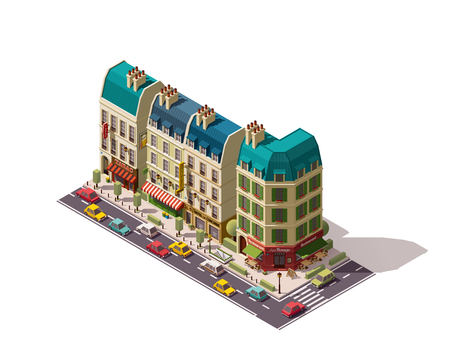 overhang: Isometric Paris street with restaurants and stores