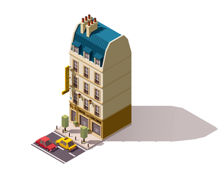 Isometric Paris building with hotel
