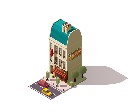 montmartre: Isometric Paris building with tobacco store