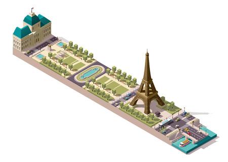パリで火星のフィールドの簡略化された等尺性地図  イラスト・ベクター素材