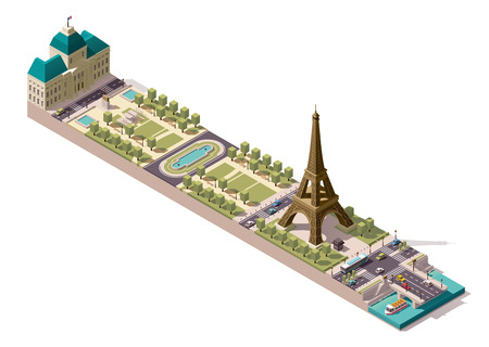 pont: Simplified isometric map of the Field of Mars in Paris