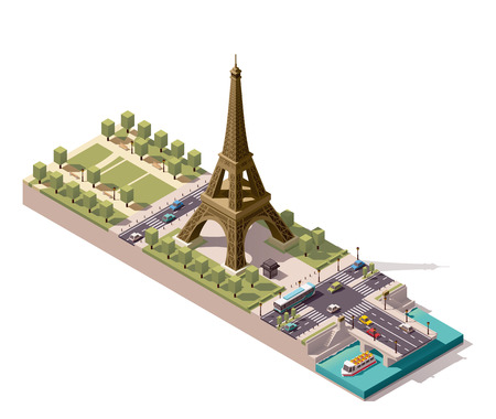 low poly: Simplified isometric map of the Field of Mars in Paris