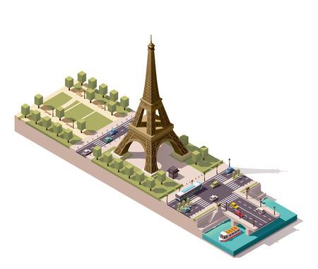 Vereinfachte isometrische Karte des Marsfeld in Paris Standard-Bild - 55962242