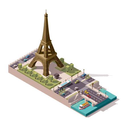 Vereenvoudigd isometrisch Eiffeltoren en Jena Bridge
