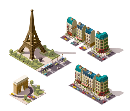 montmartre: Set of the isometric Paris buildings and monuments