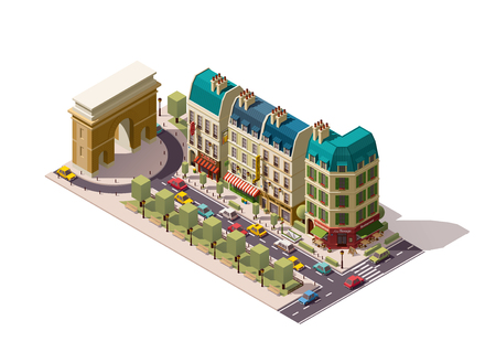 Isometric Parisian street with buildings and Arch