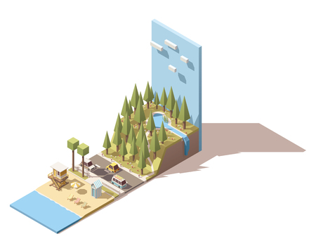 front of house: Isometric landscape with beach and mountains Illustration