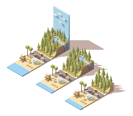 cascade mountains: Isometric landscape with beach and mountains Illustration