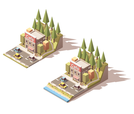 overhang: Simple isometric road cafe building