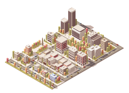 Isometric city streets with different buildings