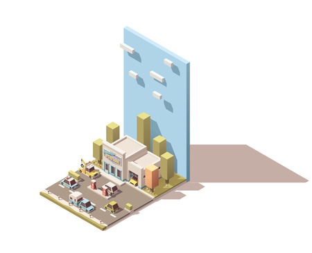 breakdown truck: Vector isometric car service building icon