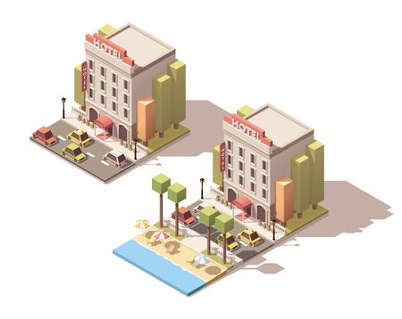 Isometric icon representing small hotel building