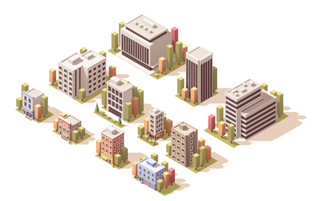 Isometrische set van de verschillende gebouwen