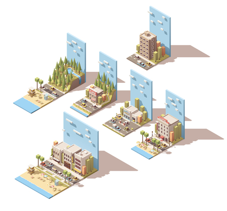 life guard: Set of the isometric car travel related landscape