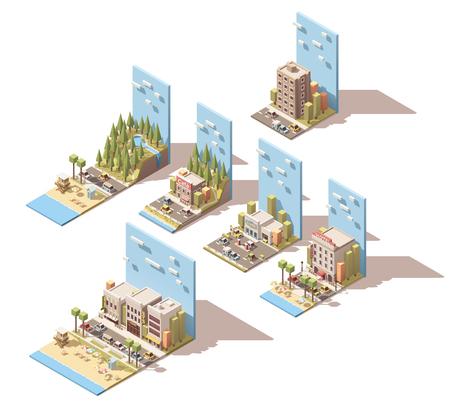 Set van de isometrische auto reizen gerelateerde landschap Stock Illustratie