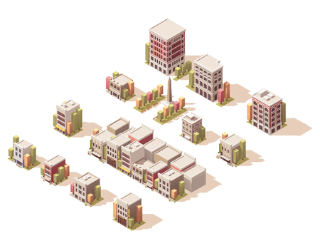 city buildings: Isometric set of the different buildings