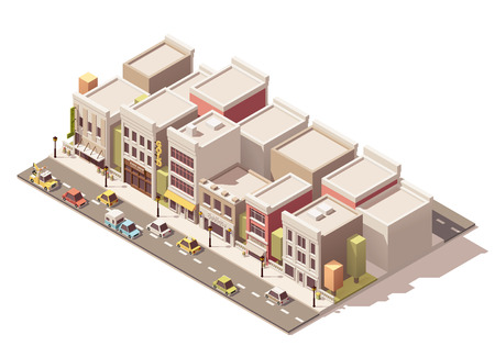 Isometric town street with different buildings Ilustracja