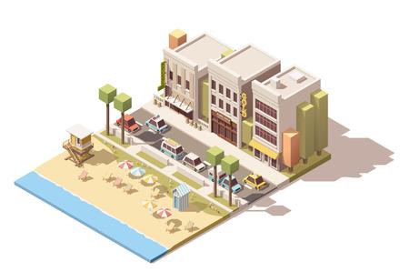 vacaciones en la playa: calle de la ciudad isométrica con la playa y los coches Vectores
