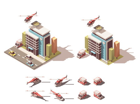 office building: Vector Isometric icon or infographic element representing hospital and ambulance related illustrations. Includes isometric ambulance van, ambulance helicopter, hospital or clinic building, road and street elements