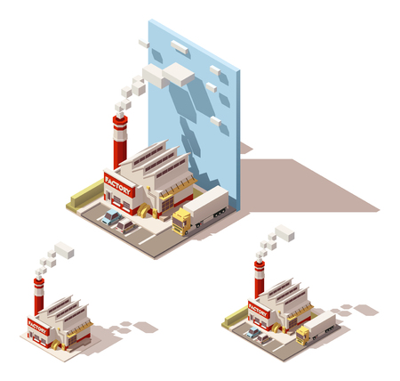storage facility: Vector Isometric icon or infographic element representing industrial block, factory or plant, smoking factory pipe or chimney, truck with semi-trailer on the factory yard Illustration