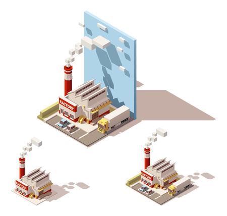 Vector isometrische Symbol oder Infografik Element darstellt Industrie Block, Fabrik oder Anlage, Rauchen Fabrik Rohr oder Schornstein, LKW mit Sattelauflieger auf dem Fabrikhof