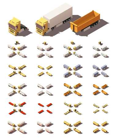 semitrailer: Vector Isometric icon or infographic element representing trucks or tractors with different trailers and semi-trailers. Every truck and trailer in four views with different shadows