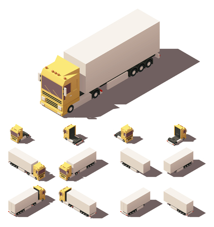 yellow tractors: Vector Isometric icon or infographic element representing truck or tractor with box trailer or semi-trailer. Every truck and trailer in four views with different shadows