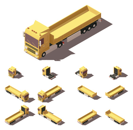 yellow tractors: Vector Isometric icon or infographic element representing truck or tractor with cargo trailer or semi-trailer. Every truck and trailer in four views with different shadows